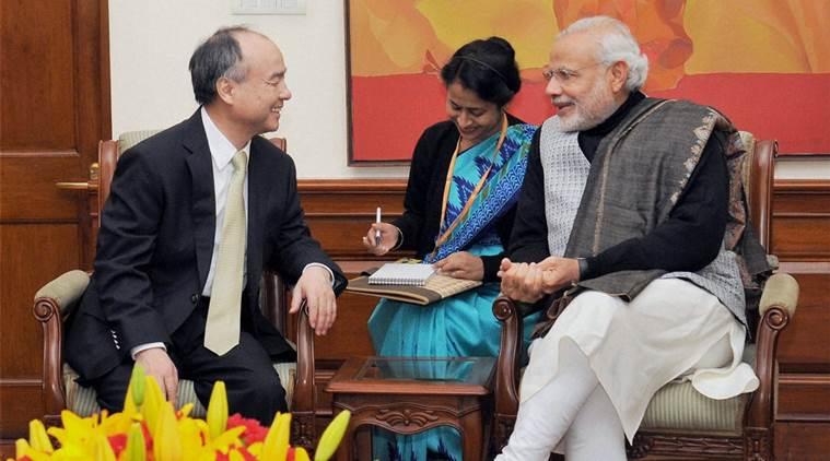 New Delhi: Prime Minister Narendra Modi in a meeting with SoftBank founder and CEO Masayoshi Son, in New Delhi on Friday. PTI Photo/ PIB(PTI1_15_2016_000219B)
